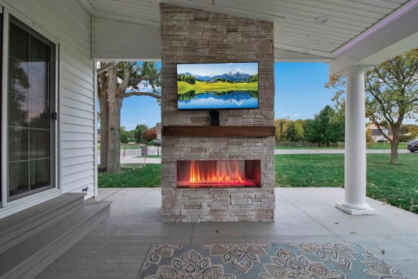 built in outdoor fireplace